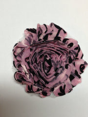 1 Piece  - Black Velvet Damask on Light Pink Shabby Chic, Frayed Flower, Vintage Look for Headband, Hairclip, Hairbow