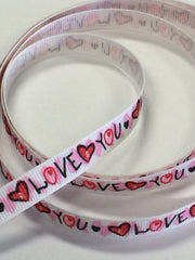 1 Yard 3/8 inch Love you  ON White Valentine's Day VALENTINE  - Printed Grosgrain Ribbon