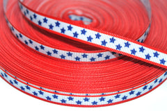 1 Yard 3/8 inch Red Border, Navy Stars (thin) Printed Grosgrain Ribbon
