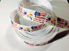 1 yard 1 inch - 4TH OF JULY, Red, White and Blue - FOURTH OF JULY - Printed Grosgrain Ribbon