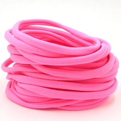 Neon Pink Nylon Headband | One Size Headband | THIN Soft Nylon Headband for baby and adults| Premium Infant & Baby Headbands | BULK