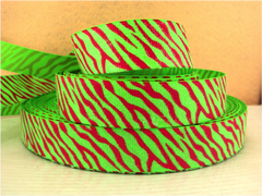 1 Yard 1 inch HOT PINK ZEBRA ON LIME WITH GLITTER - ANIMAL PRINT -  Printed Grosgrain Ribbon