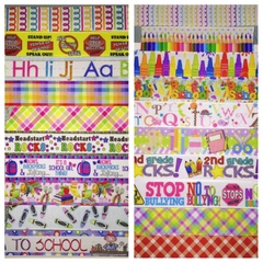 BACK TO SCHOOL RIBBON KIT - 60 YARDS TOTAL - 3 YARDS EACH DESIGN - 20 DIFFERENT DESIGNS - SOME 7/8 INCH AND SOME 1 INCH - PRINTED GROSGRAIN RIBBON