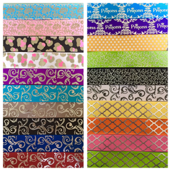 SILVER FOIL PATTERN RIBBON KIT - 60 YARDS TOTAL - 3 YARDS EACH DESIGN - 20 DIFFERENT DESIGNS - ALL 7/8 INCH - PRINTED GROSGRAIN RIBBON