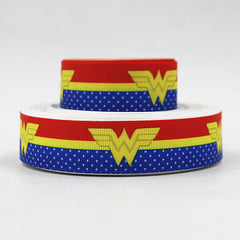 1 Yard 7/8 inch  Wonder Woman  Red and Blue Superhero  - Super hero - Super heroes - Printed Grosgrain Ribbon
