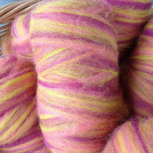 Load image into Gallery viewer, Hand-dyed alpaca roving raspberry & yellow
