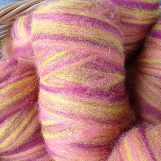Hand-dyed alpaca roving raspberry & yellow