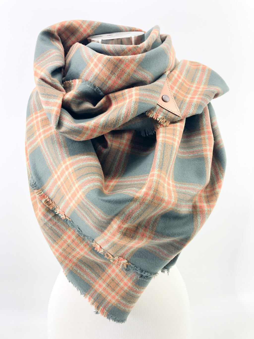 Adventure Plaid Blanket Scarf with Leather Detail