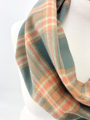 Adventure Plaid Eternity Scarf with a Leather Cuff