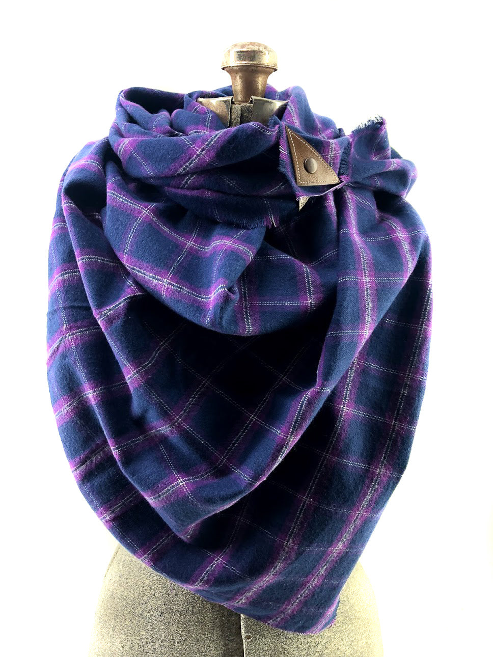Limited Edition: BF Purple Blanket Scarf with Leather Detail