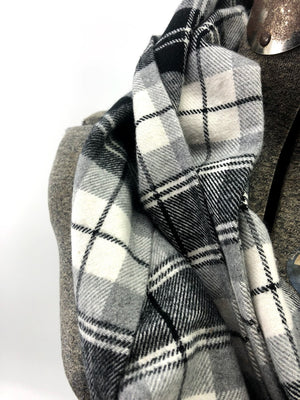 Black Cream & Gray Sm Plaid Eternity Scarf with a Leather Cuff