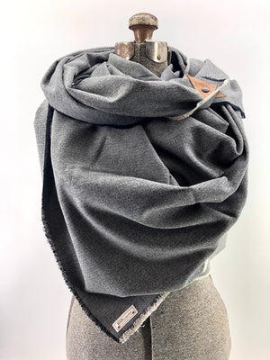 Black & Gray Herringbone Blanket Scarf with Leather Detail