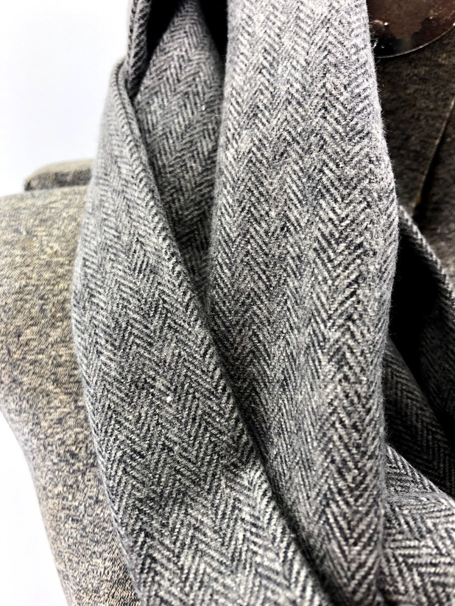Black & Gray Herringbone Eternity Scarf with a Leather Cuff