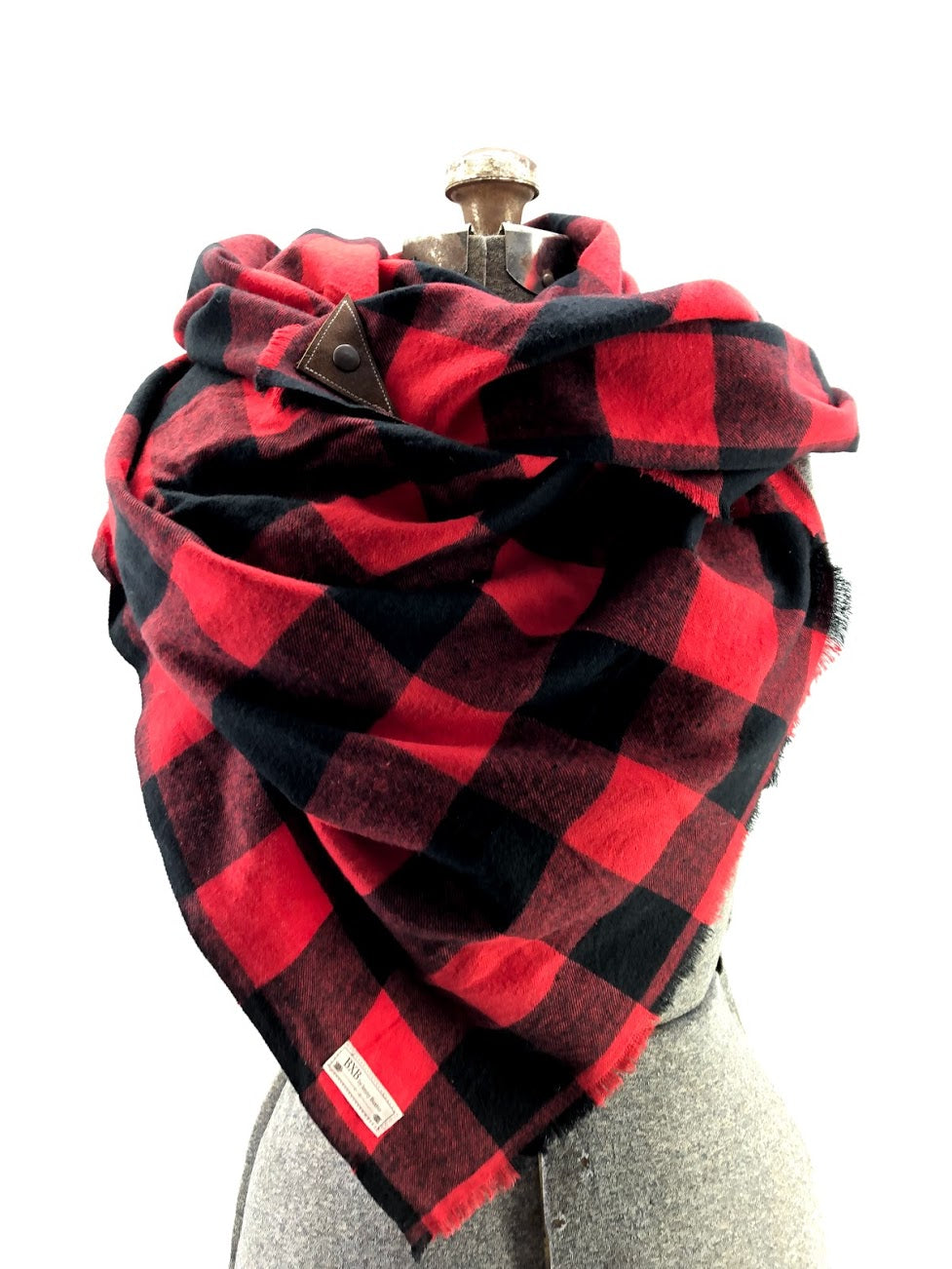 Black & Red Buffalo Check Blanket Scarf with Leather Detail