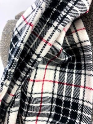 Black White & Red Sm Plaid Eternity Scarf with a Leather Cuff