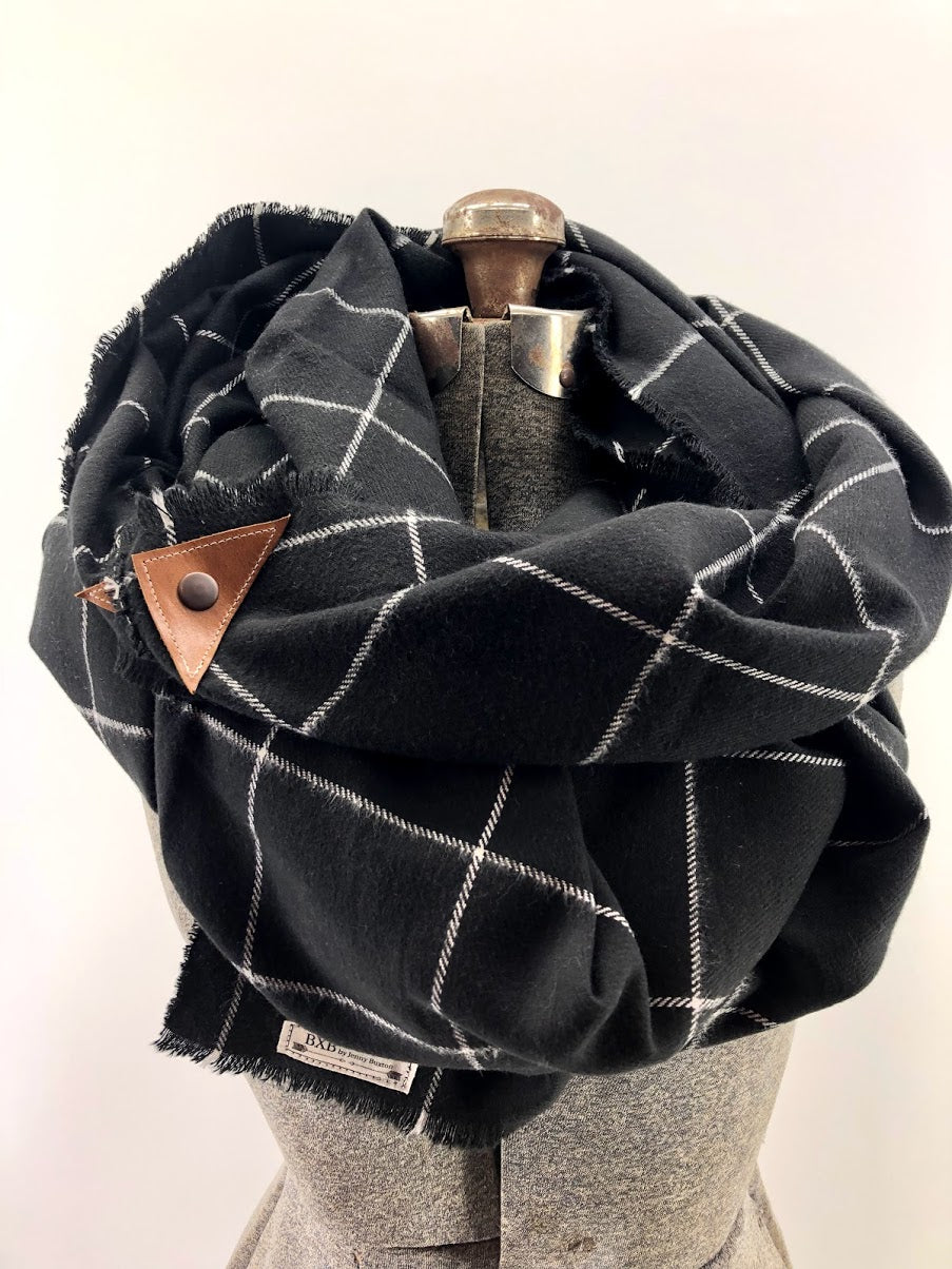 Black & White Window Pane Blanket Scarf with Leather Detail