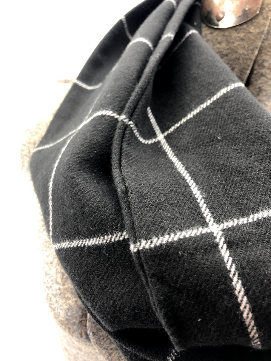 Black & White Window Pane Eternity Scarf with a Leather Cuff