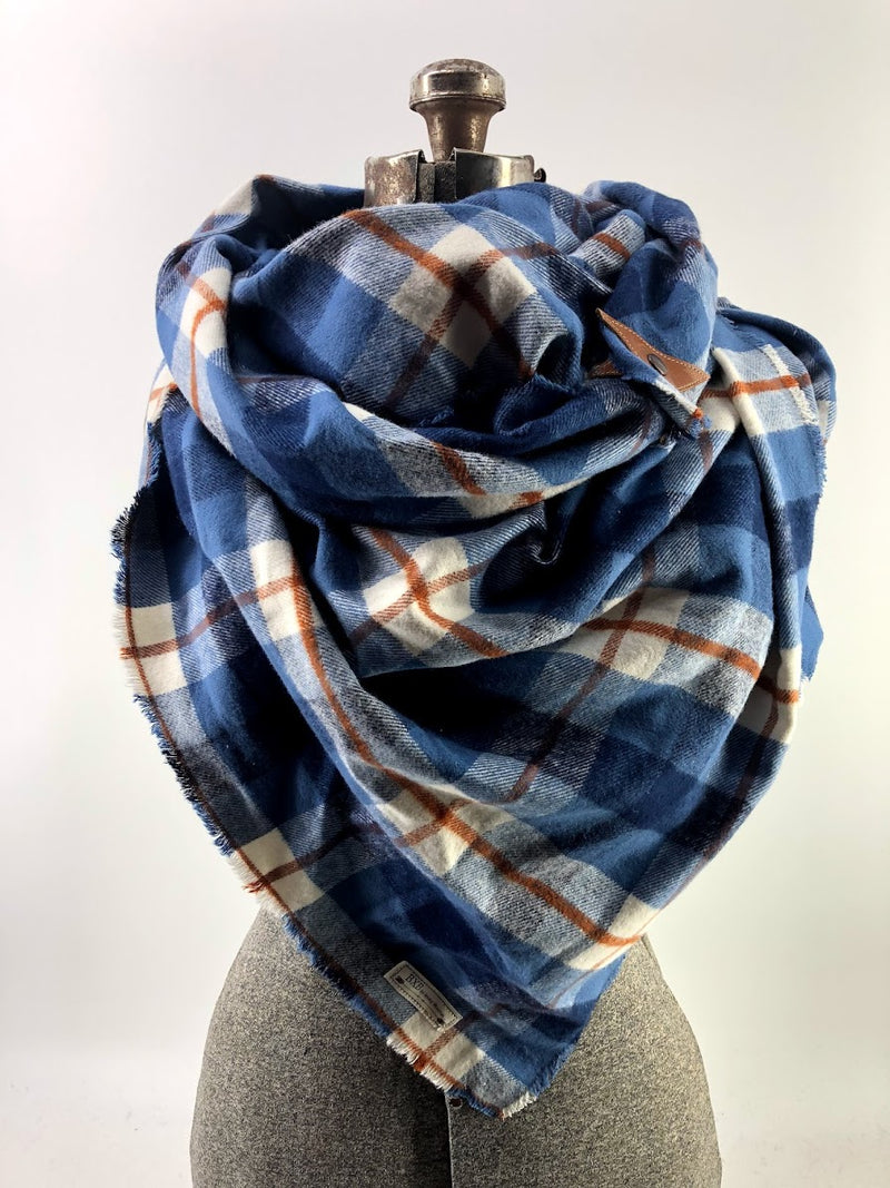 Blue & Rust Plaid (New) Blanket Scarf with Leather Detail