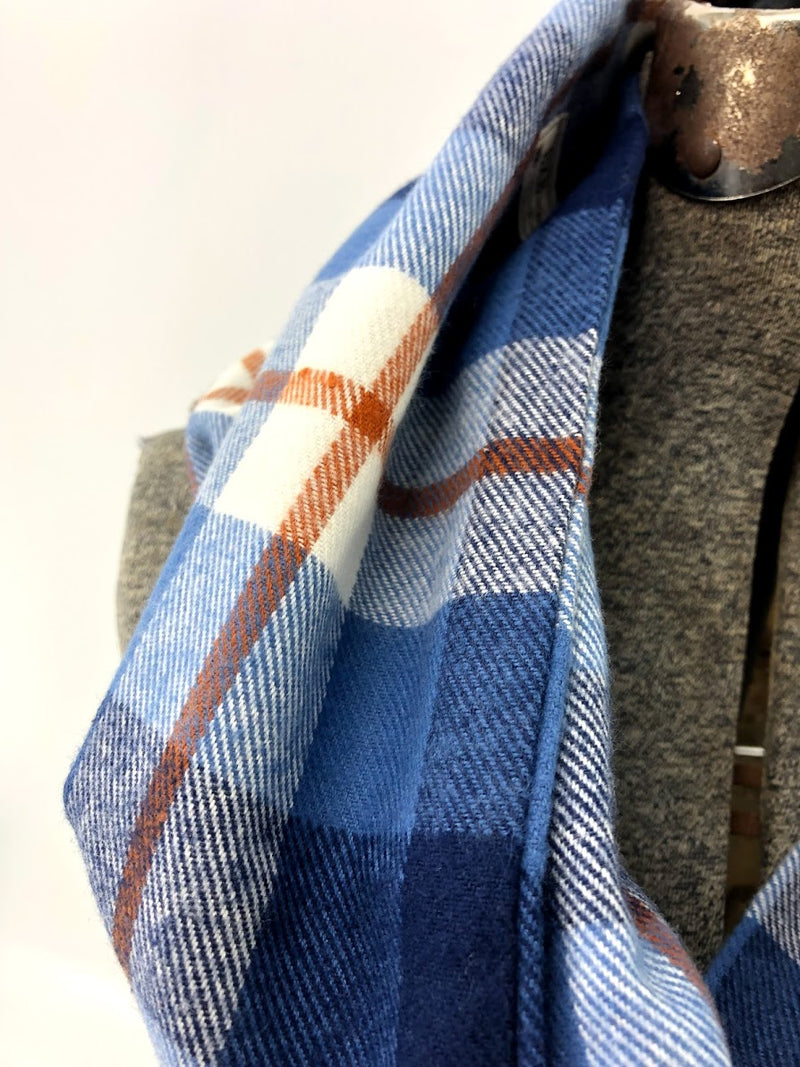 Blue & Rust Plaid Eternity Scarf with a Leather Cuff
