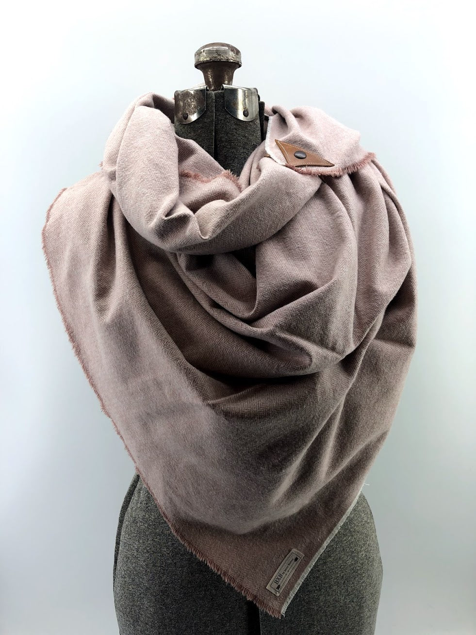 Blush Herringbone Blanket Scarf with Leather Detail
