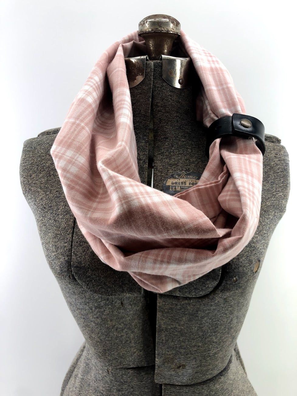 Blush & Cream Plaid Light Weight Eternity Scarf with a Leather Cuff