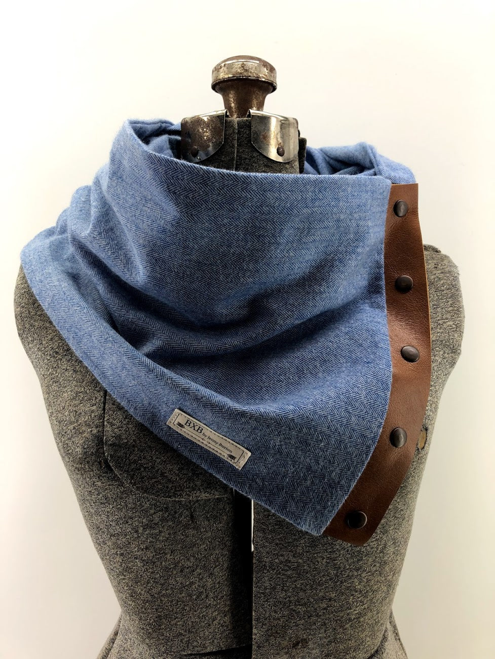 Bright Blue Herringbone Multi Snap Scarf with Leather Snaps