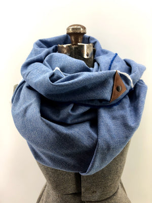 Bright Blue Herringbone Blanket Scarf with Leather Detail