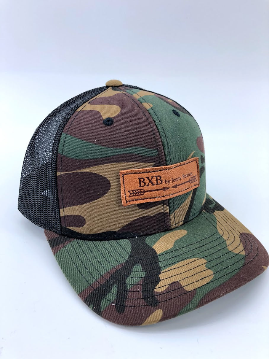 Camo & Black BXB Leather Logo Trucker Hat