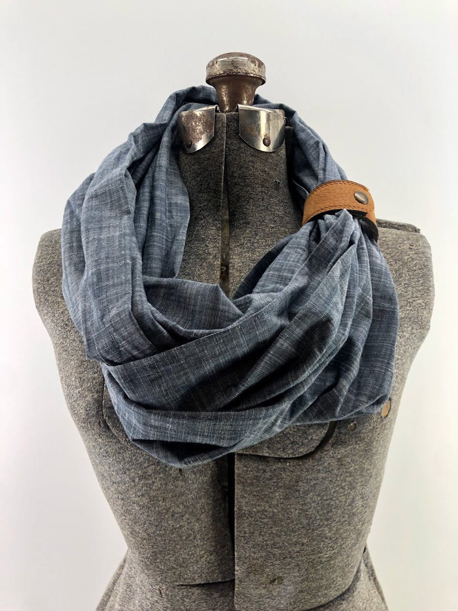 Chambray Eternity Scarf with a Leather Cuff