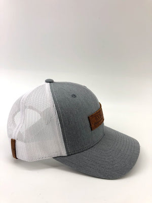 Chambray & White BXB Leather Logo Trucker Hat
