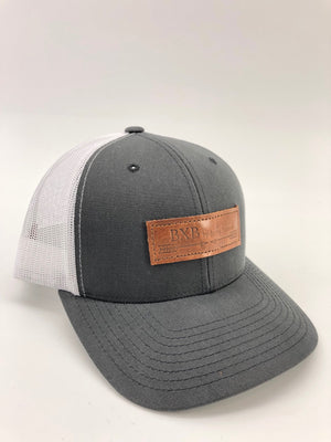 Charcoal & White BXB Leather Logo Trucker Hat