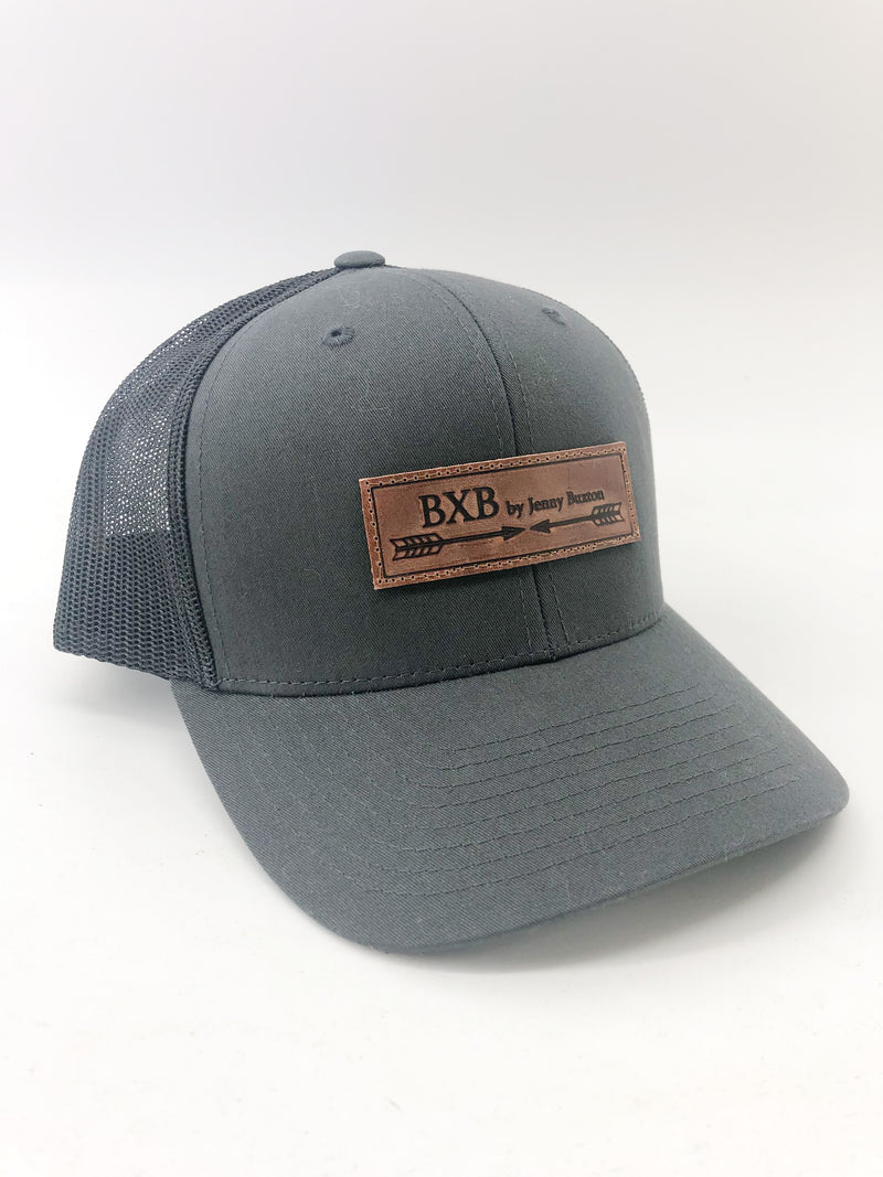 Charcoal & Black BXB Leather Logo Trucker Hat
