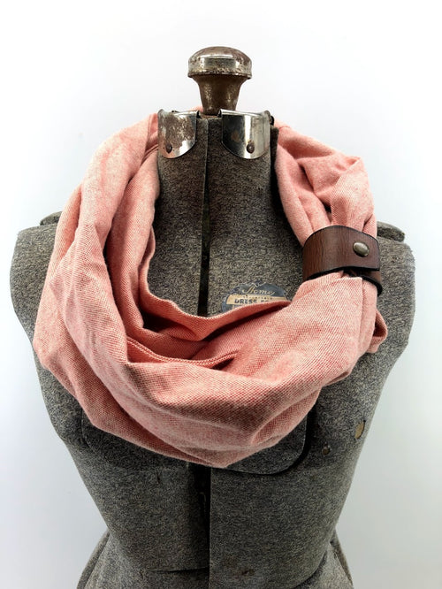 Coral Eternity Scarf with a Leather Cuff