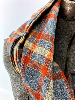 Gray & Rust Plaid Eternity Scarf with a Leather Cuff