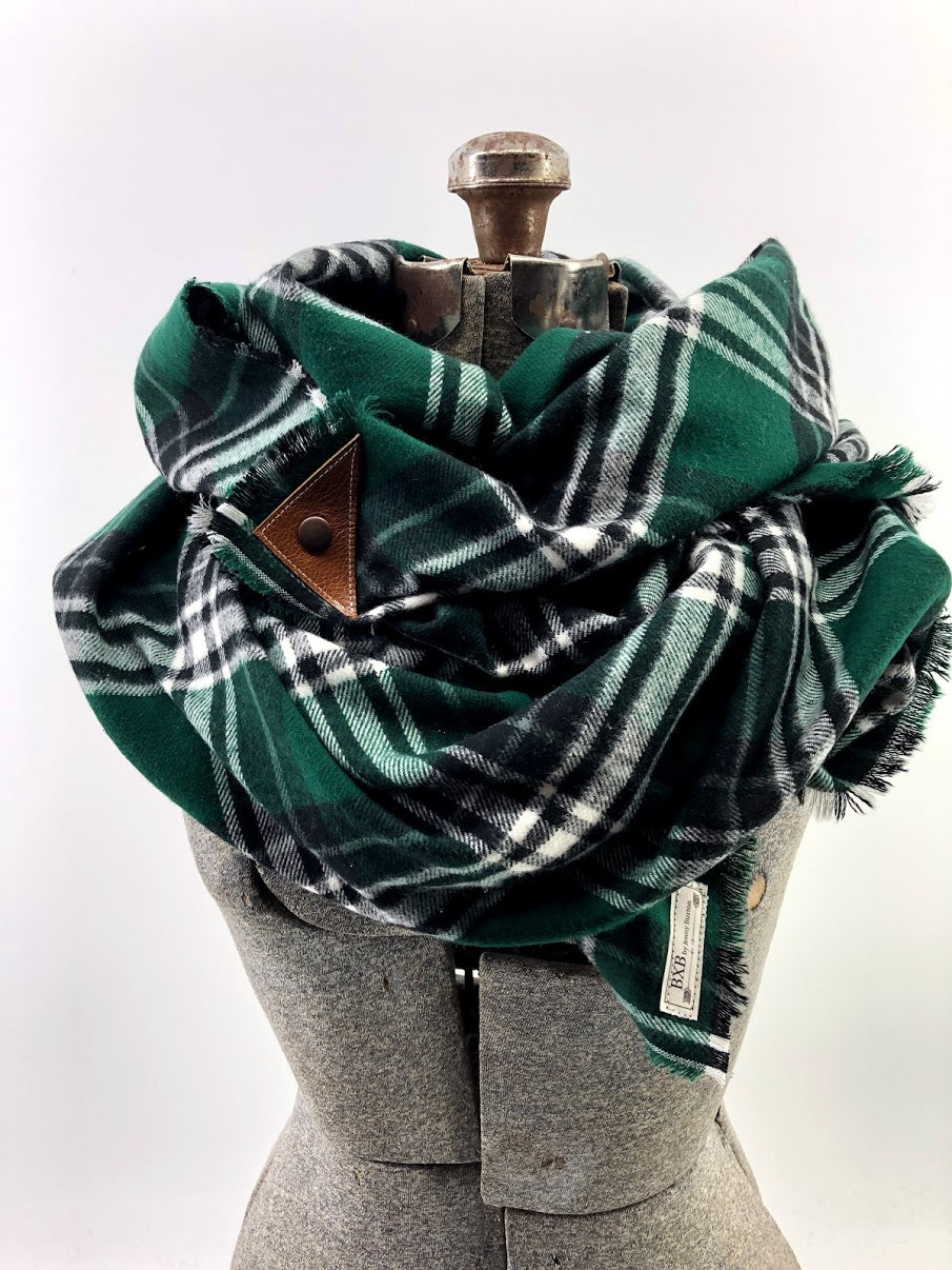 Green Black & White Plaid Blanket Scarf with Leather Detail