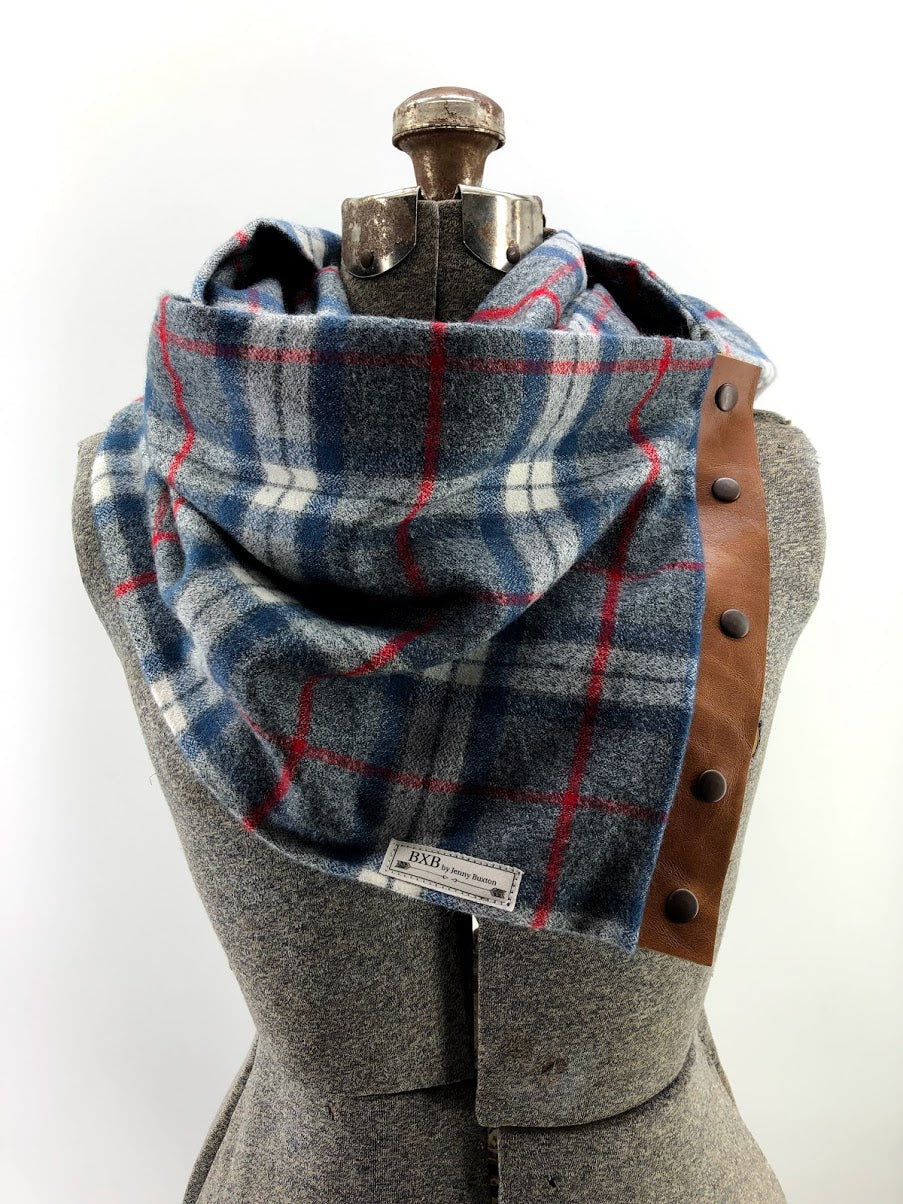 Grey Blue & Red Plaid Multi Snap Scarf with Leather Snaps