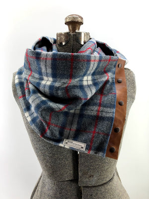 Blue White & Red Plaid Multi Snap Scarf with Leather Snaps