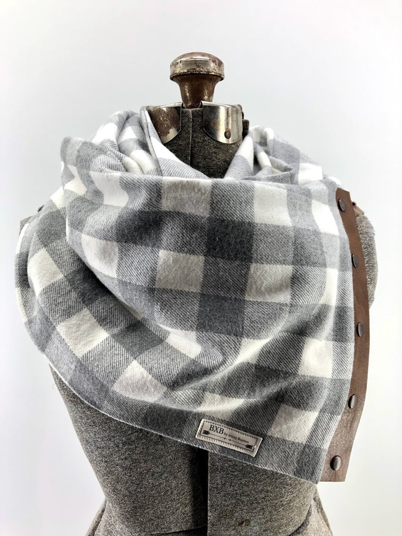 Gray & Cream Buffalo Check Multi Snap Scarf with Leather Snaps