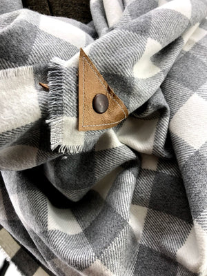 Gray & Cream Buffalo Check Blanket Scarf with Leather Detail