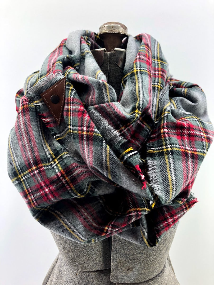 Grey Red & Yellow Plaid Blanket Scarf with Leather Detail