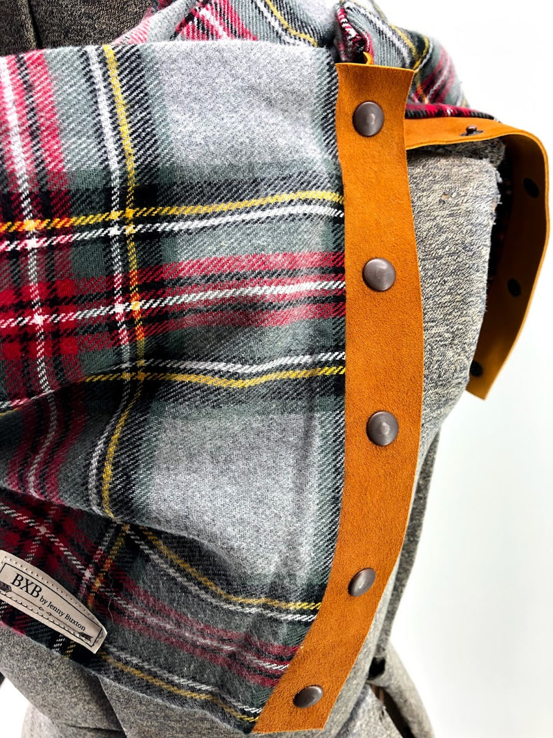 Grey Red & Yellow Plaid Multi Snap Scarf with Leather Snaps