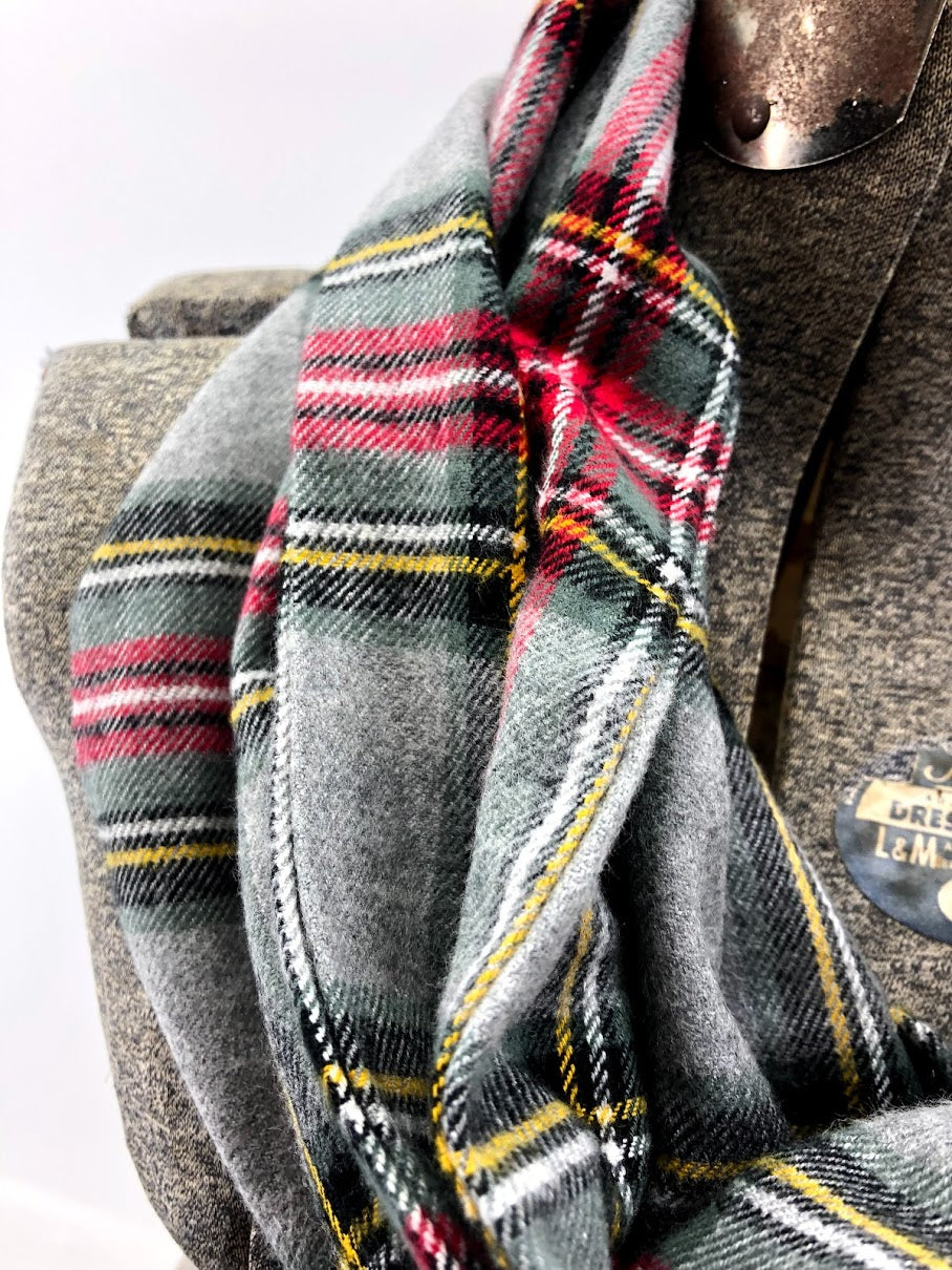 Gray Red & Yellow Plaid Eternity Scarf with a Leather Cuff