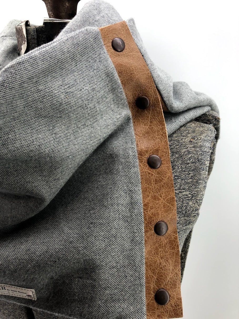 Grey Solid Multi Snap Scarf with Leather Snaps