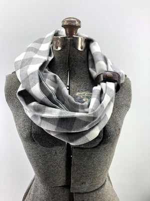 Gray & Cream Buffalo Check Eternity Scarf with Leather Cuff