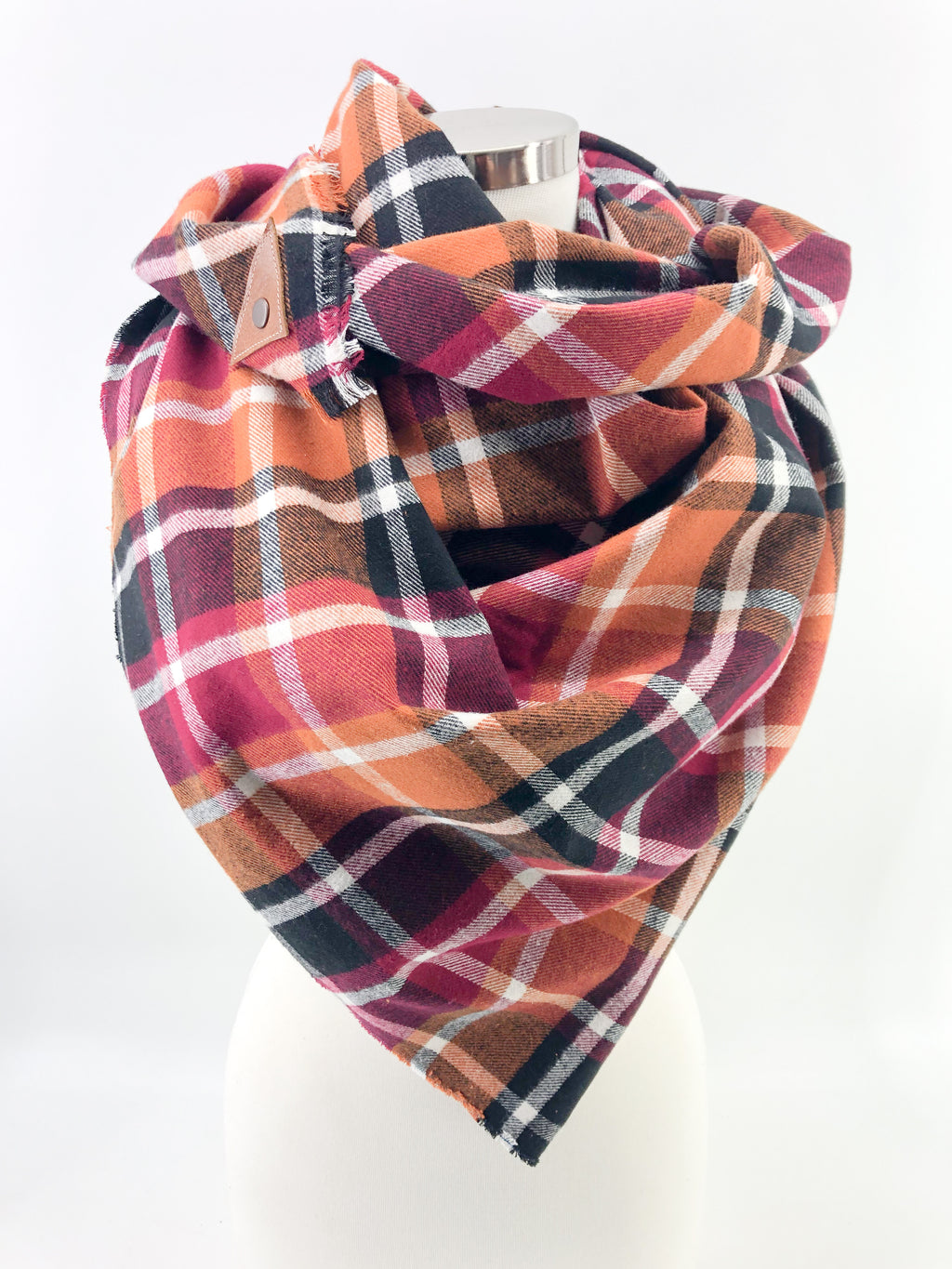 Harvest Plaid Blanket Scarf with Leather Detail