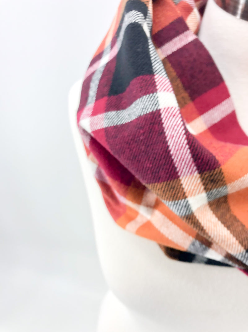Harvest Plaid Eternity Scarf with a Leather Cuff