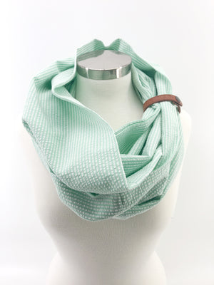 Mint Seersucker Eternity Scarf with a Leather Cuff