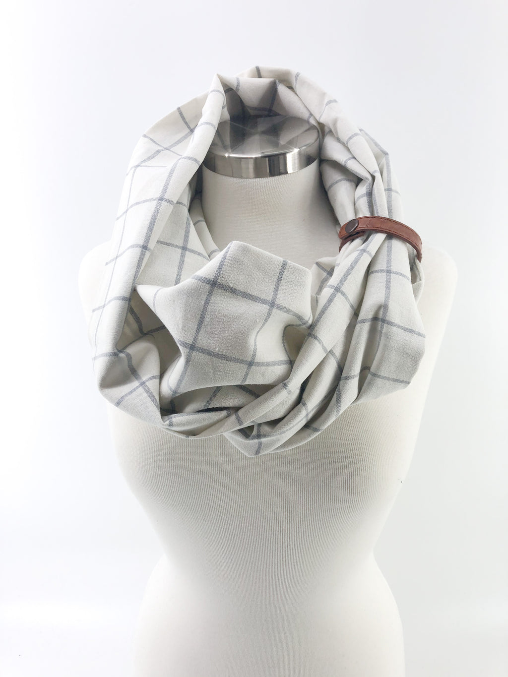 White Windowpane Eternity Scarf with a Leather Cuff