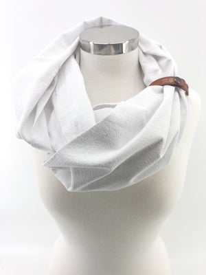 White Seersucker Eternity Scarf with a Leather Cuff