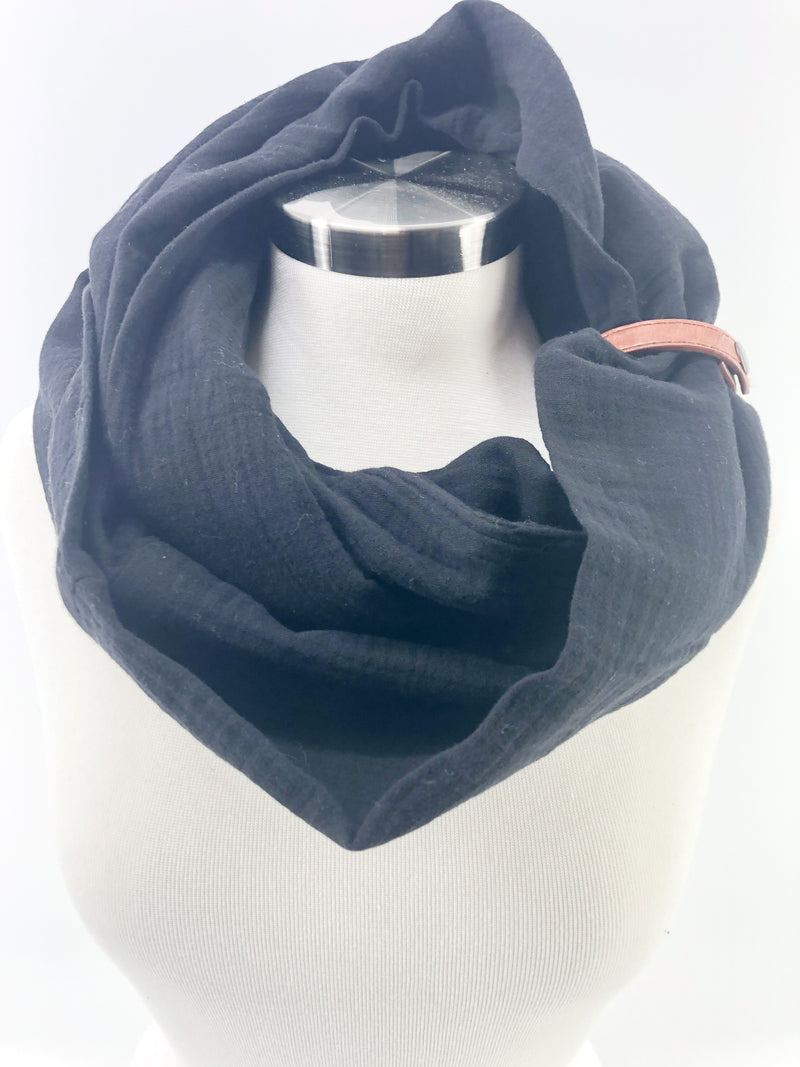 Black Gauze Eternity Scarf with a Leather Cuff